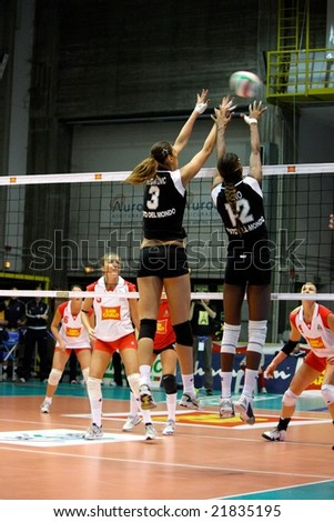 PAVIA, ITALY - DECEMBER 8, 2008. Volleyball All Star Game Europe vs the Rest of the World, match played in Pavia on the 8th December 2008. - stock photo
