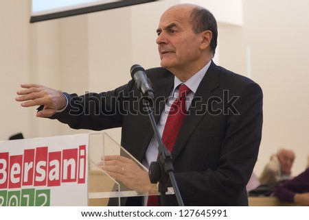 PAVIA, ITALY - OCTOBER 31: Pier Luigi Bersani, candidate for prime minister in forthcoming Italian elections 2013, during Democratic Party primary election on October 31, 2012 in Pavia, PV, Italy. - stock photo