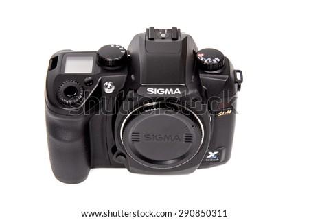 PAVIA, ITALY studio shot - JUNE 16, 2008 : Sigma SD14 digital camera on white background, product shot - stock photo