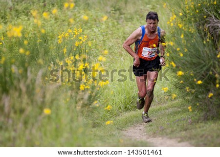 PAVIE, FRANCE - JUNE 23: Senior runner  at the Trail of Pavie, on June 23, 2013, in Pavie, France. All around him, gorse in full bloom. - stock photo