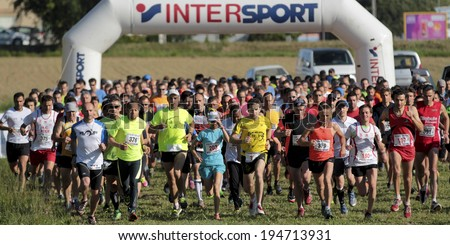 PAVIE, FRANCE - MAY 18: Start of the race at the Trail of Pavie, on May 18, 2014, in Pavie, France   - stock photo