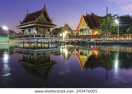 Pavilion at temple middle at a water, Thailand - stock photo