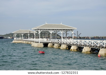 Pavilion Boat Sea Wood Day Outdoor - stock photo