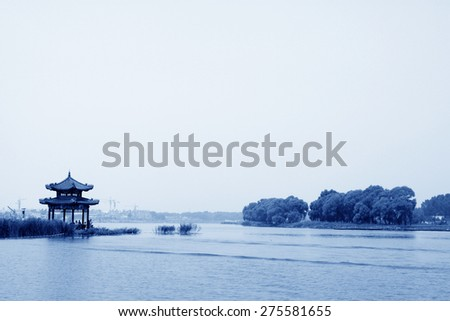 Pavilion building landscape in a park, northern china - stock photo