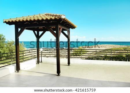 pavilion for wedding on the beach - stock photo