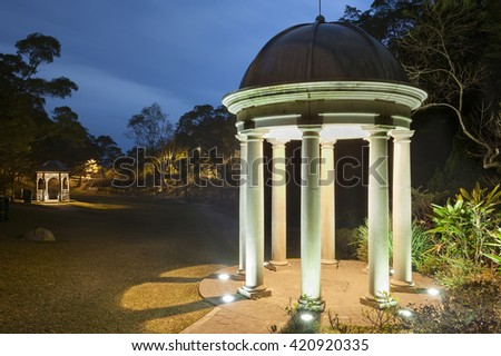pavilion in park at night - stock photo