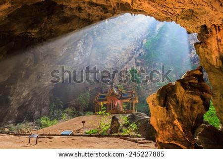 Pavilion in Phraya Nakorn cave nearby Hua Hin , National Park Khao Sam Roi Yot, Thailand . - stock photo