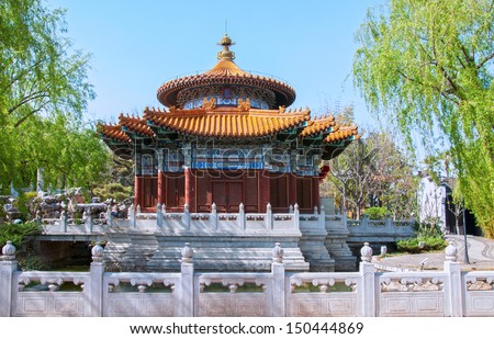 Pavilion, located in Kunming City, Yunnan Province, China.  - stock photo