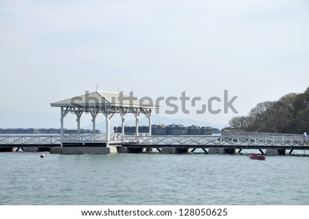 Pavilion Nature Outdoor Sea Wood Day - stock photo