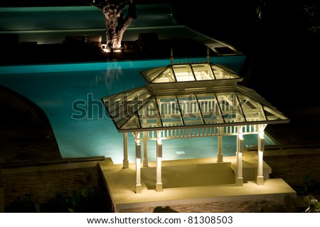 Pavilion near the pool at night
