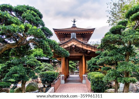 Pavilion of Chinese Temple in Hong Kong - stock photo