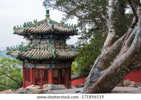 Pavilion of Multi-Layered Greenery in Summer Palace, Beijing, China . - stock photo