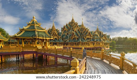 Pavilion of the Enlightened, Ancient Siam (formerly known as Ancient City) is a park constructed under the patronage of Lek Viriyaphant and spreading over 0.81 km2 in the shape of Bangkok, Thailand. - stock photo