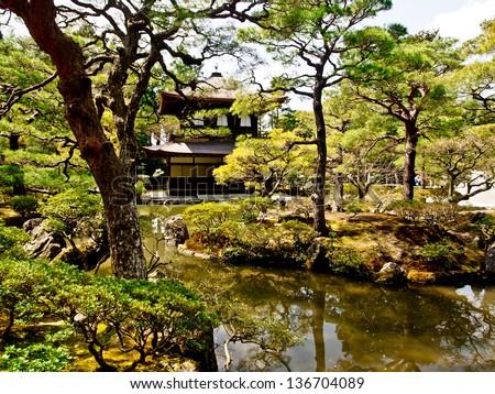 pavilion of the famous Ginkakuji temple, Kyoto, Japan - stock photo