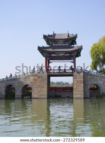 Pavilion on the bank of Kunming lake in Summer Palace,Beijing - stock photo