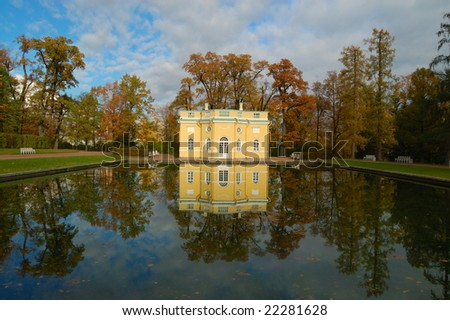 Pavilion reflecting in the pond in the park of Katherine?s Palace in Tsarskoe Selo near St. Petersburg, Russia - stock photo