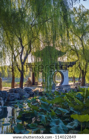 Pavilion surrounded by the lake, lotus and weeping willow