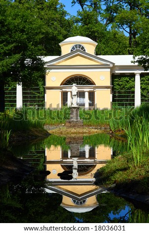 pavilion with sculpture in Pavlovsk park Saint-Petersburg Russia