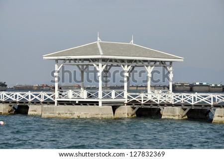 Pavilion Wood Day Outdoor Thailand Sea - stock photo