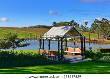 Pavillion in a vineyard, suitable for holding events - stock photo