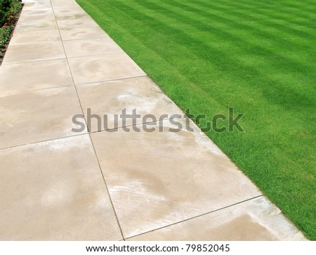 Paving and lawn as abstract or background - stock photo