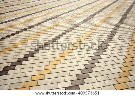 paving slabs laid out on the street - stock photo