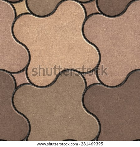 Paving Stone in the Shape of Quatrefoil in Beige-Brown Tones. Seamless Tileable Texture. - stock photo