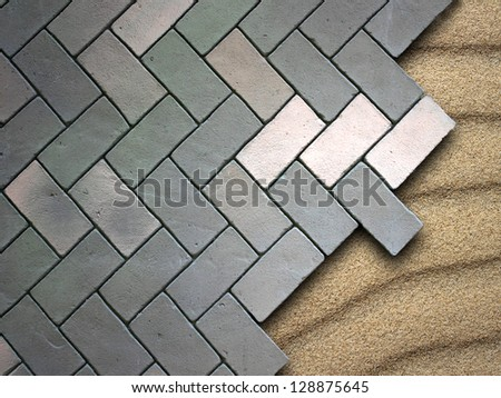 Paving stone on beach - stock photo