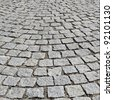 paving stone on old road in Lyon city - stock photo