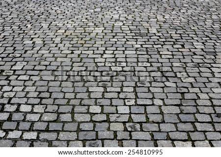 Paving stones street closeup background - stock photo