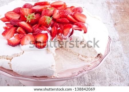 pavlova cake with strawberry - stock photo