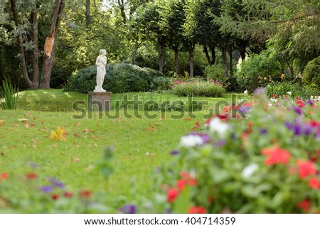 PAVLOVSK, LENINGRAD OBLAST, RUSSIA - SEPTEMBER 6, 2015: Statue in the Pavlovsk park. the park surrounding the Pavlovsk Palace, an 18th-century Russian Imperial residence - stock photo