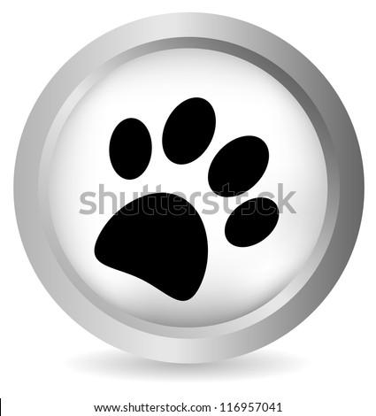 Paw button on white background - stock photo