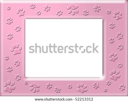 Paw print frame - stock photo