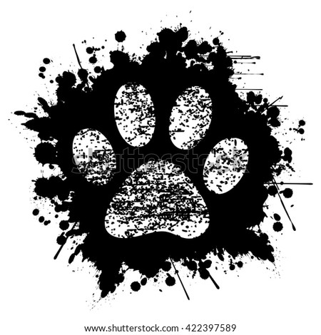 Paw Print-Ink-Background - stock photo