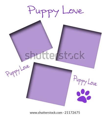 paw print puppy love scrapbook page lavender - stock photo