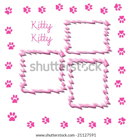 paw print scrapbook frame for cat pink and white - stock photo
