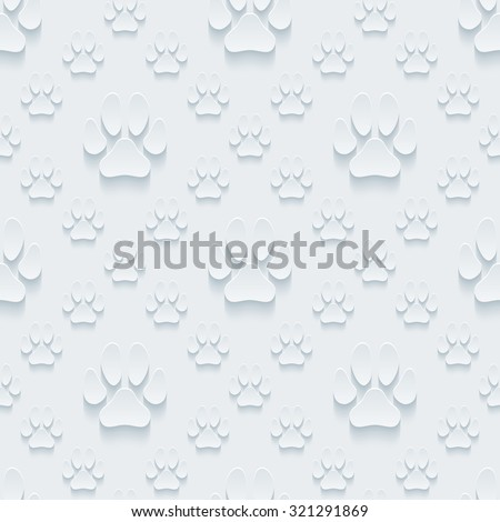 Paw prints 3d seamless background. Light perforated paper pattern with cut out effect.  - stock photo