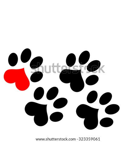 Paw Prints with heart - stock photo