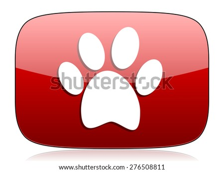 paw red glossy web icon  - stock photo