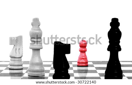 Pawn arrives to eighth rank, red one in focus - stock photo