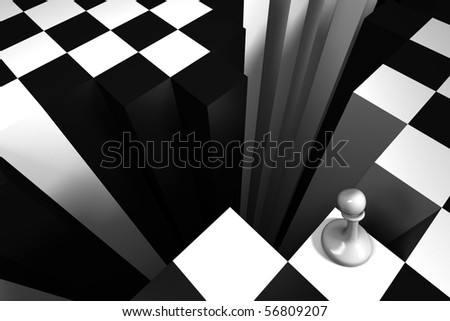 pawn before the abyss - stock photo