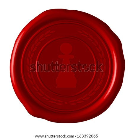 pawn chess symbol in wreath on sealing wax - stock photo