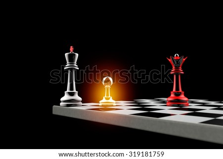 Pawn defends the King. It is a metaphor (political balance). 3D image. - stock photo