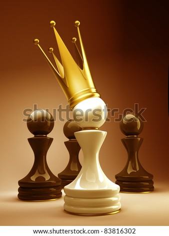 Pawn in a golden crown - stock photo