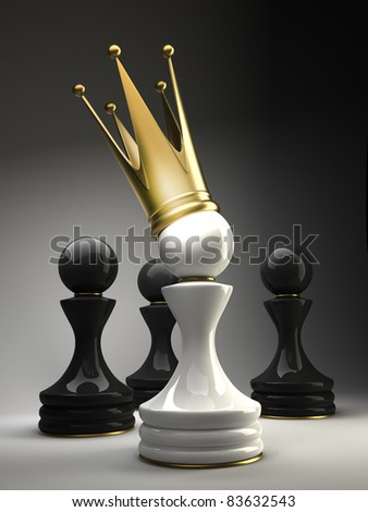 Pawn in a golden crown 3d - stock photo