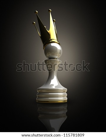 Pawn in a golden crown 3d illustration. high resolution - stock photo