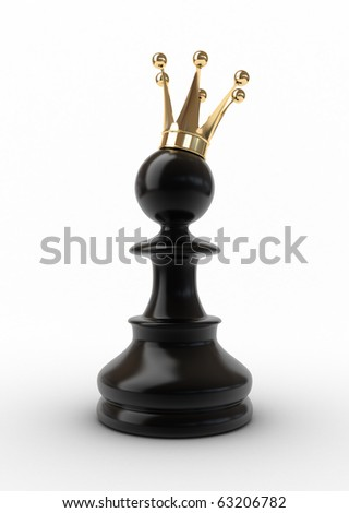 Pawn in a golden crown isolated on white. - stock photo