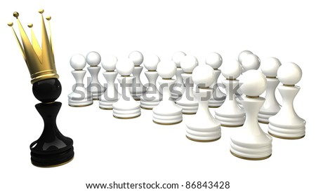 Pawn in a golden crown isolated on white background 3d illustration. high resolution - stock photo