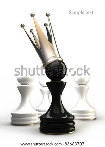 Pawn in a golden crown isolated on white 3d - stock photo